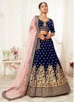 Bollywood Lehenga Choli Sequins Velvet in Navy Blue