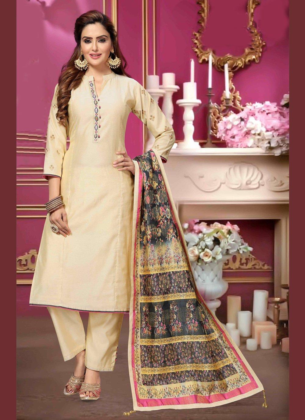 Bollywood Salwar Kameez Embroidered Art Silk in Cream
