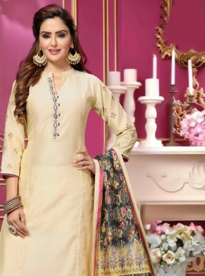 Bollywood Salwar Kameez Embroidered Art Silk in Cream