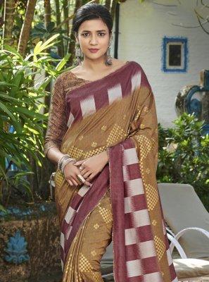 Bollywood Saree Digital Print Silk in Brown