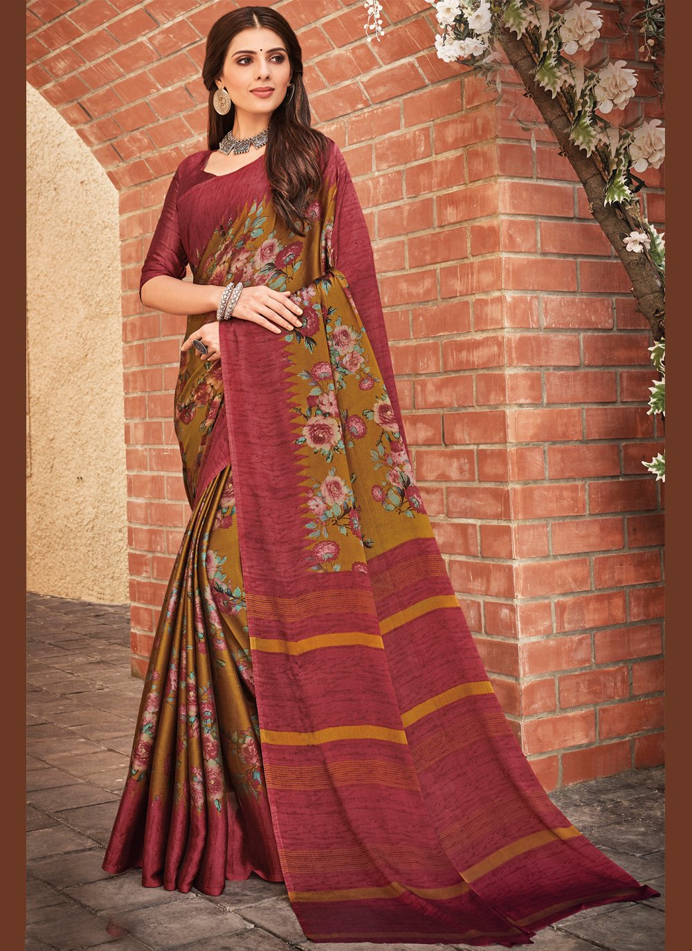 Bollywood Saree Print Faux Chiffon in Multi Colour