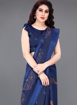 Bollywood Saree Printed Cotton in Blue