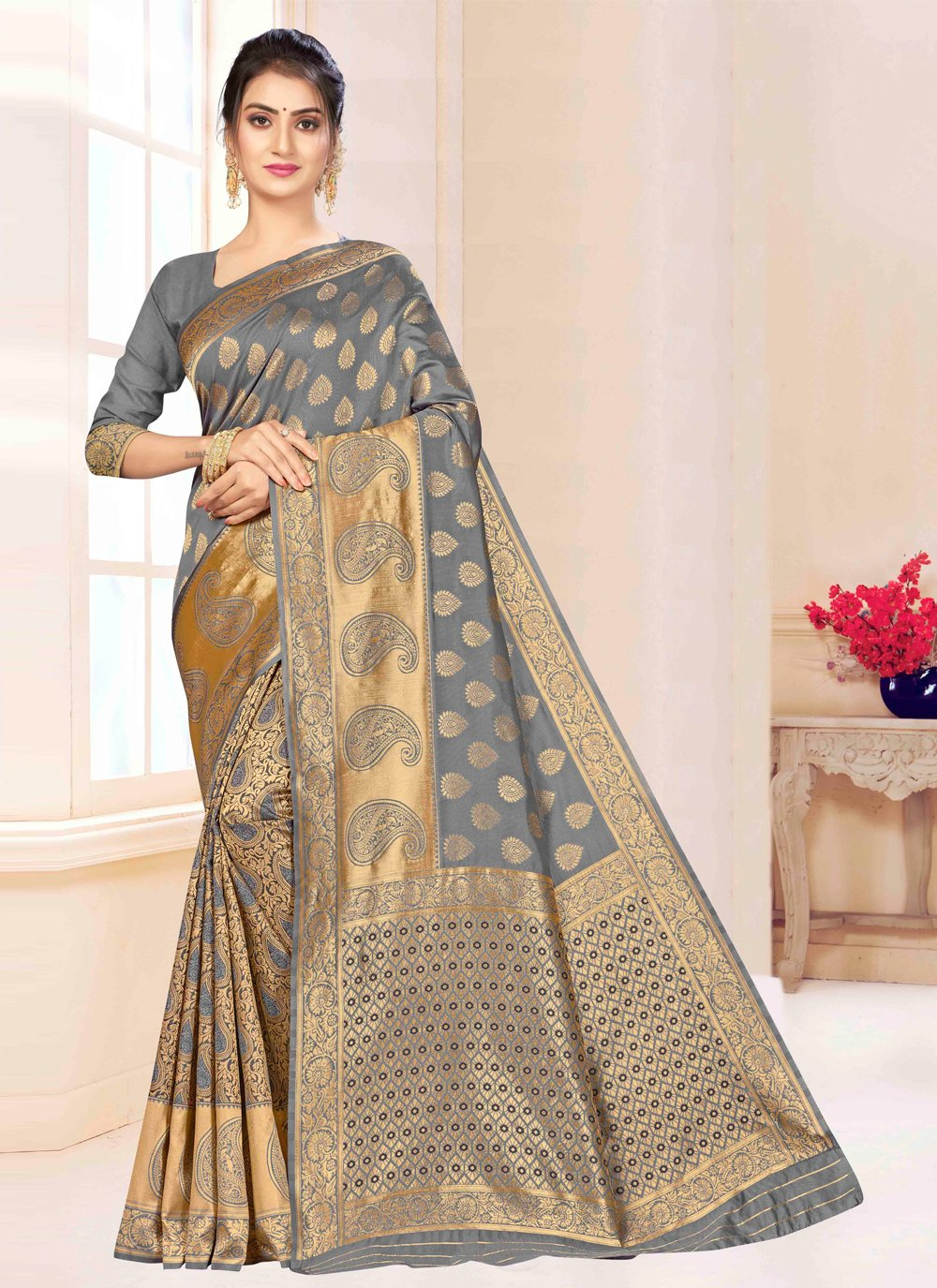Bollywood Saree Weaving Banarasi Silk in Grey