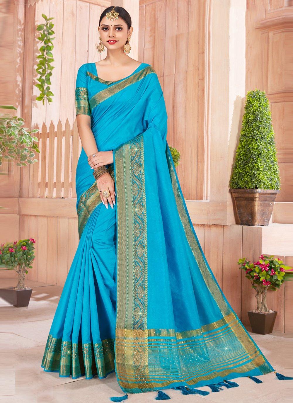 Bollywood Saree Weaving Silk in Blue