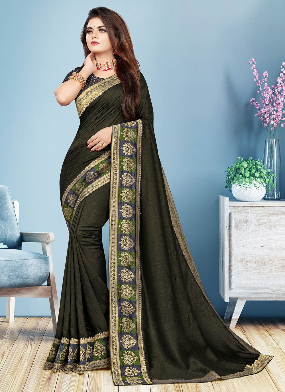 Border Black Silk Trendy Saree