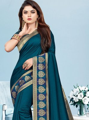 Border Blue Silk Classic Saree