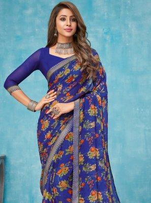 Border Faux Chiffon Contemporary Saree in Multi Colour