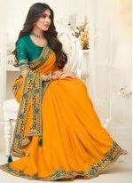 Border Yellow Classic Saree