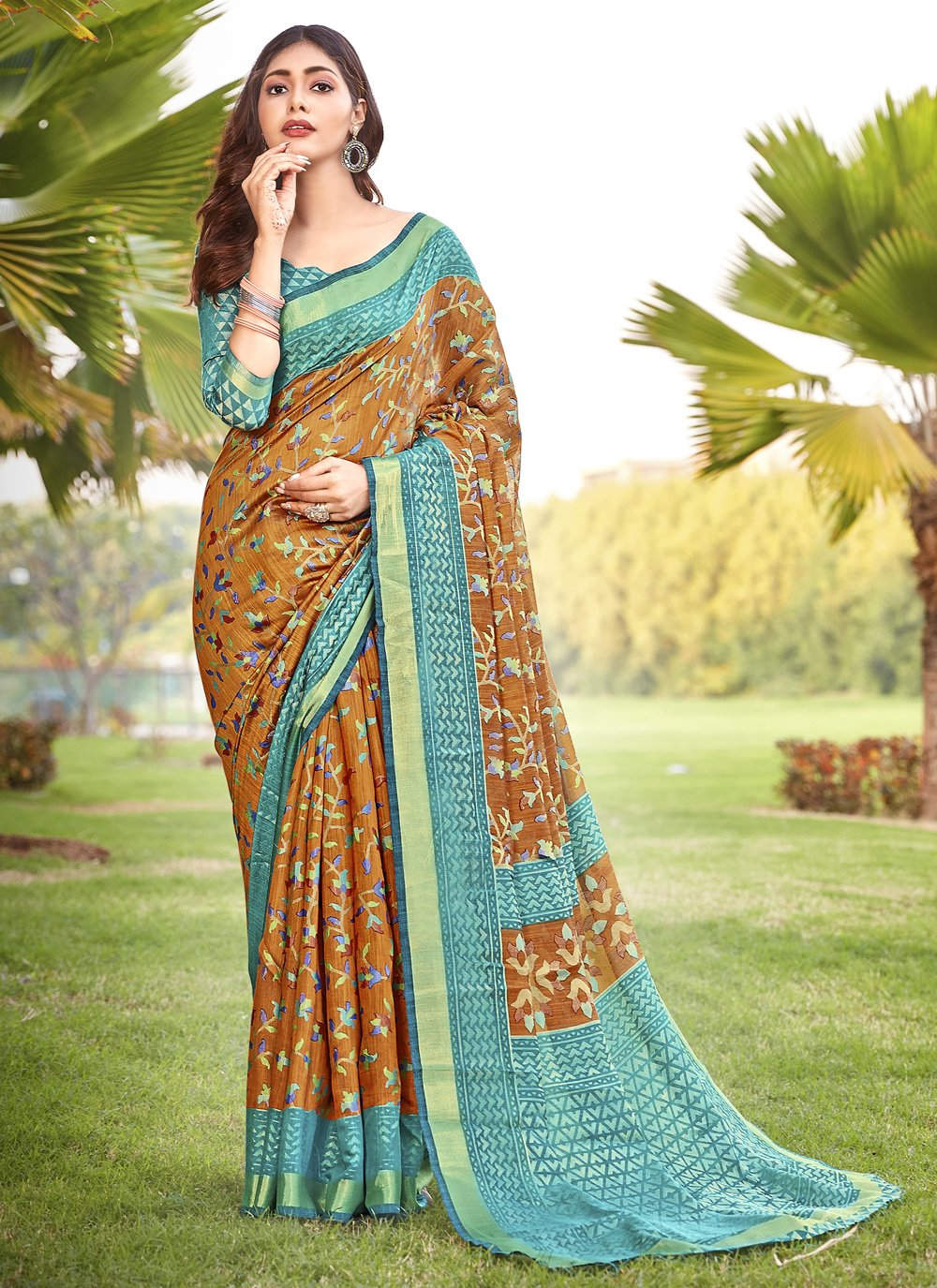 Brasso Brown Printed Bollywood Saree