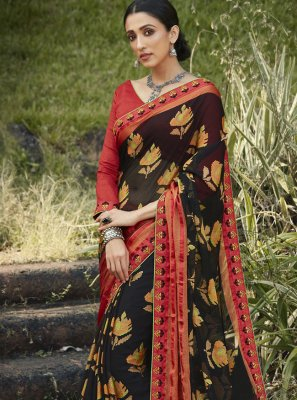 Brasso Embroidered Classic Designer Saree in Black