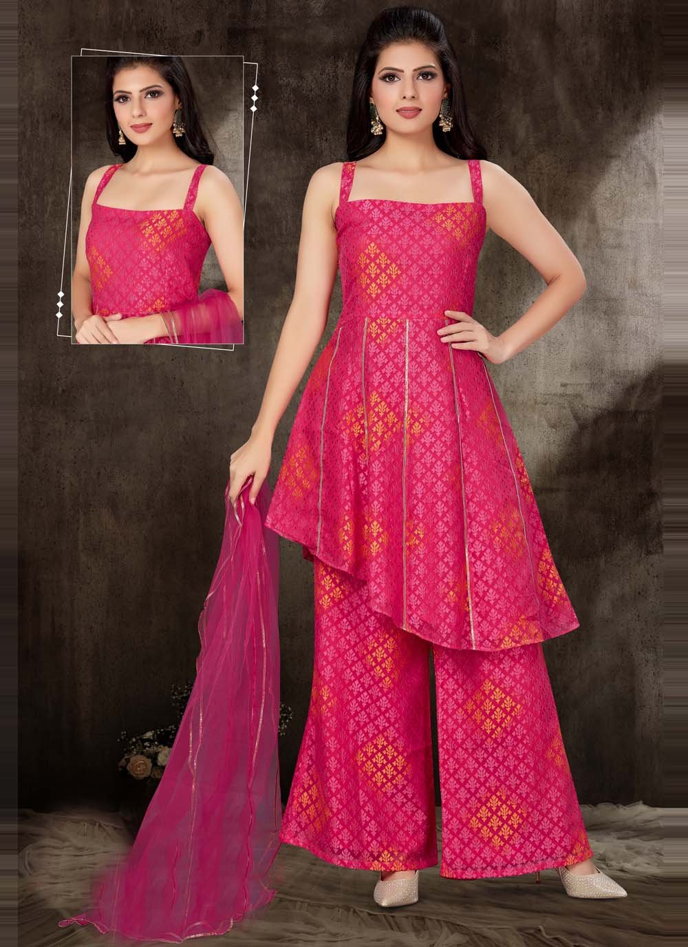 Brasso Georgette Fancy Readymade Suit in Hot Pink