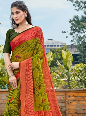 Brasso Green Abstract Print Printed Saree