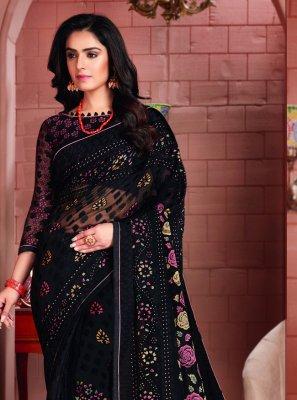 Brasso Printed Saree in Black