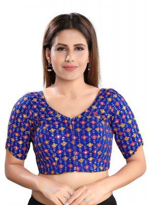 Brocade Embroidered Designer Blouse in Blue