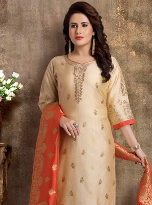 Brocade Fancy Beige Readymade Churidar Suit
