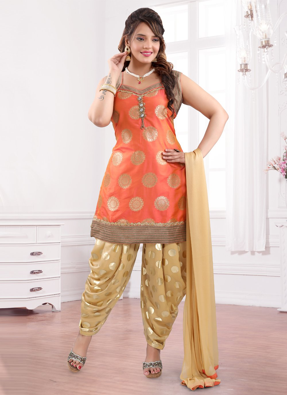 Brocade Stone Work Orange Designer Patiala Suit