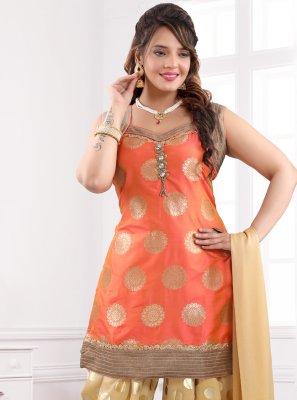 Brocade Stone Work Orange Designer Patiala Suit
