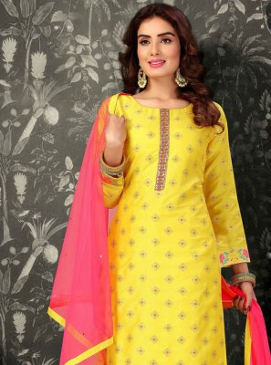 Brocade Yellow Embroidered Readymade Suit