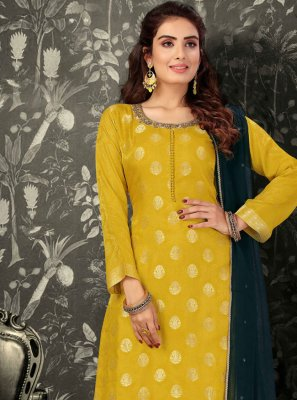 Brocade Yellow Fancy Readymade Suit