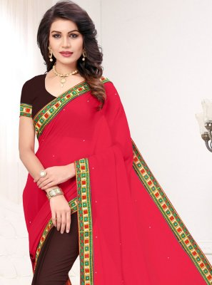 Brown and Hot Pink Designer Half N Half Saree
