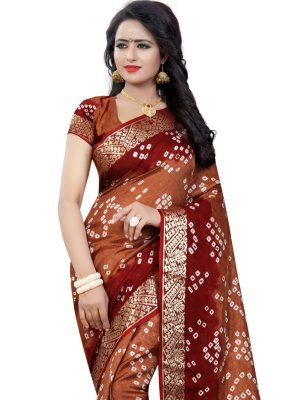Brown and Maroon Art Silk Traditional Saree