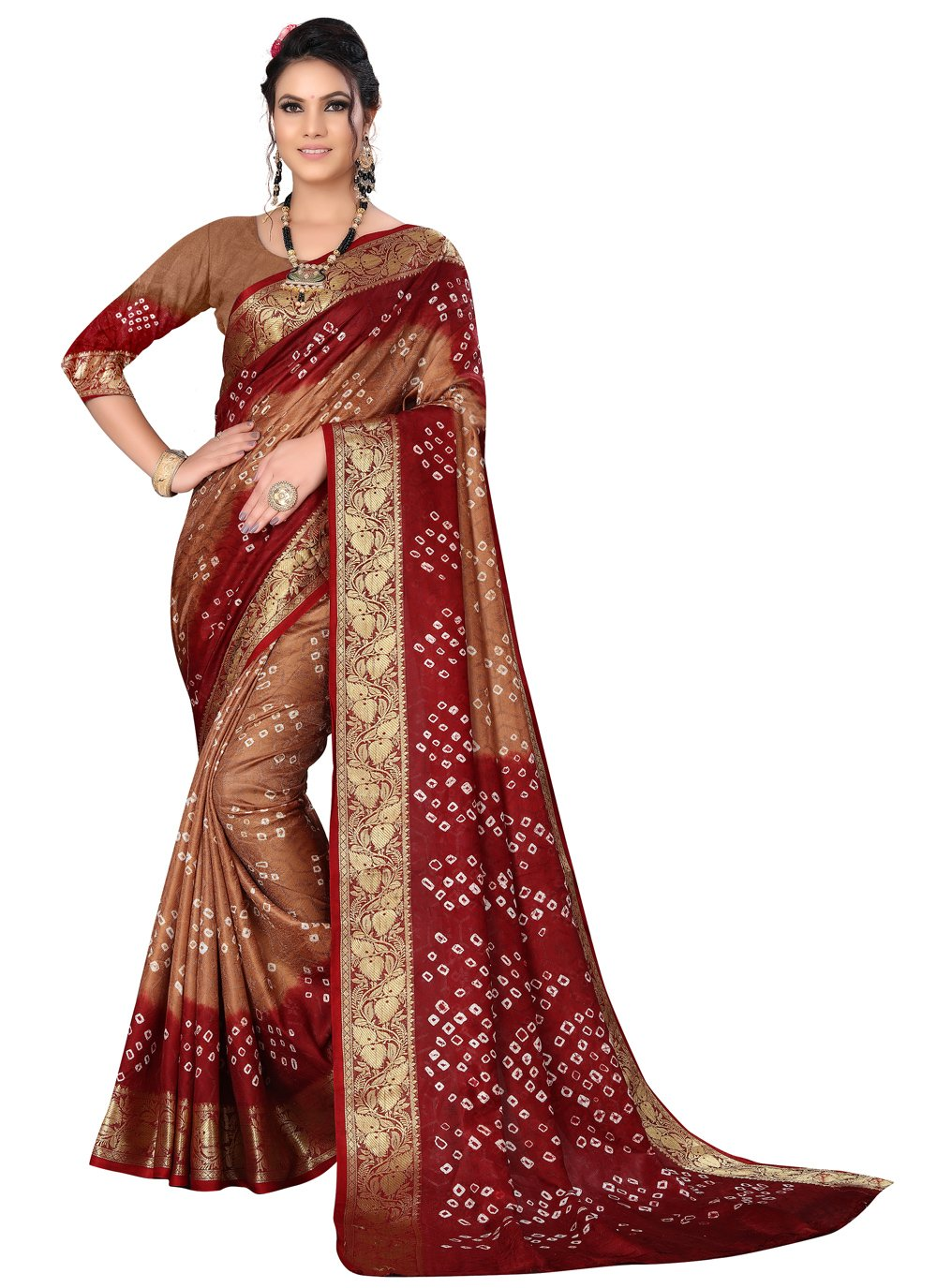 Brown and Maroon Color Traditional Saree
