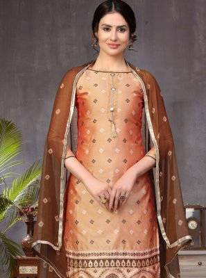 Brown and Peach Churidar Designer Suit