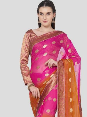 Brown and Pink Fancy Faux Chiffon Shaded Saree