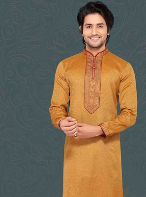 Brown Ceremonial Jacquard Kurta