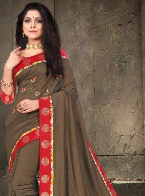 Brown Ceremonial Traditional Designer Saree