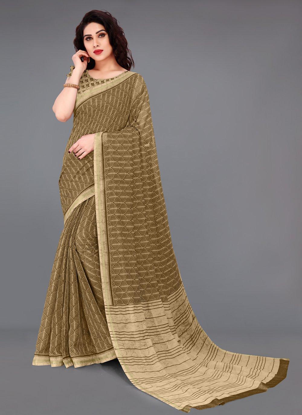 Brown Color Printed Saree