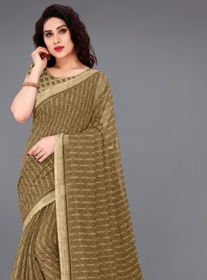 Brown Color Printed Saree