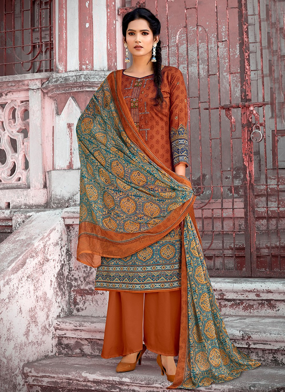 Brown Cotton Designer Pakistani Suit