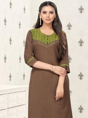 Brown Cotton Party Wear Kurti