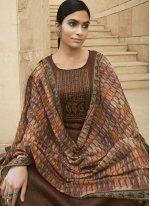 Brown Cotton Print Designer Palazzo Salwar Kameez