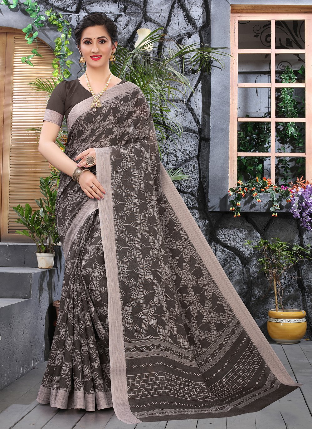Brown Cotton Printed Saree