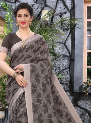 Brown Cotton Printed Saree