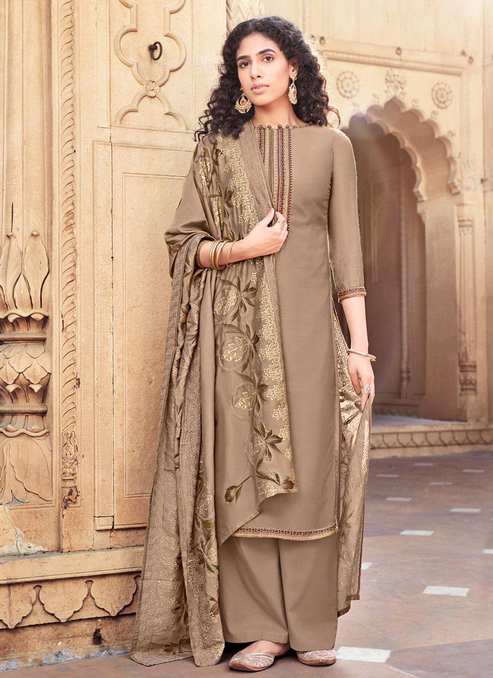 Brown Cotton Silk Festival Designer Palazzo Salwar Suit