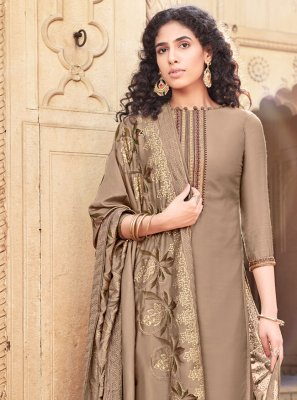 Brown Cotton Silk Festival Designer Palazzo Salwar Suit