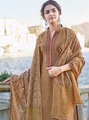 Brown Cotton Silk Print Designer Palazzo Suit