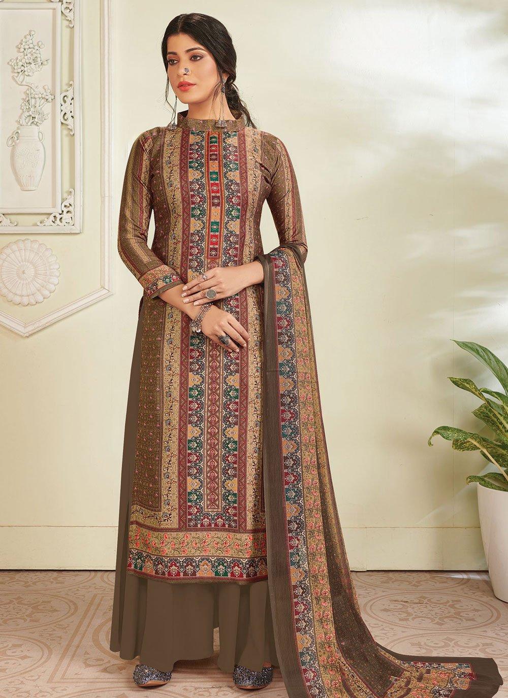 Brown Digital Print Pashmina Designer Pakistani Suit