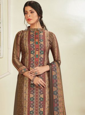 Brown Digital Print Pashmina Designer Pakistani Suit