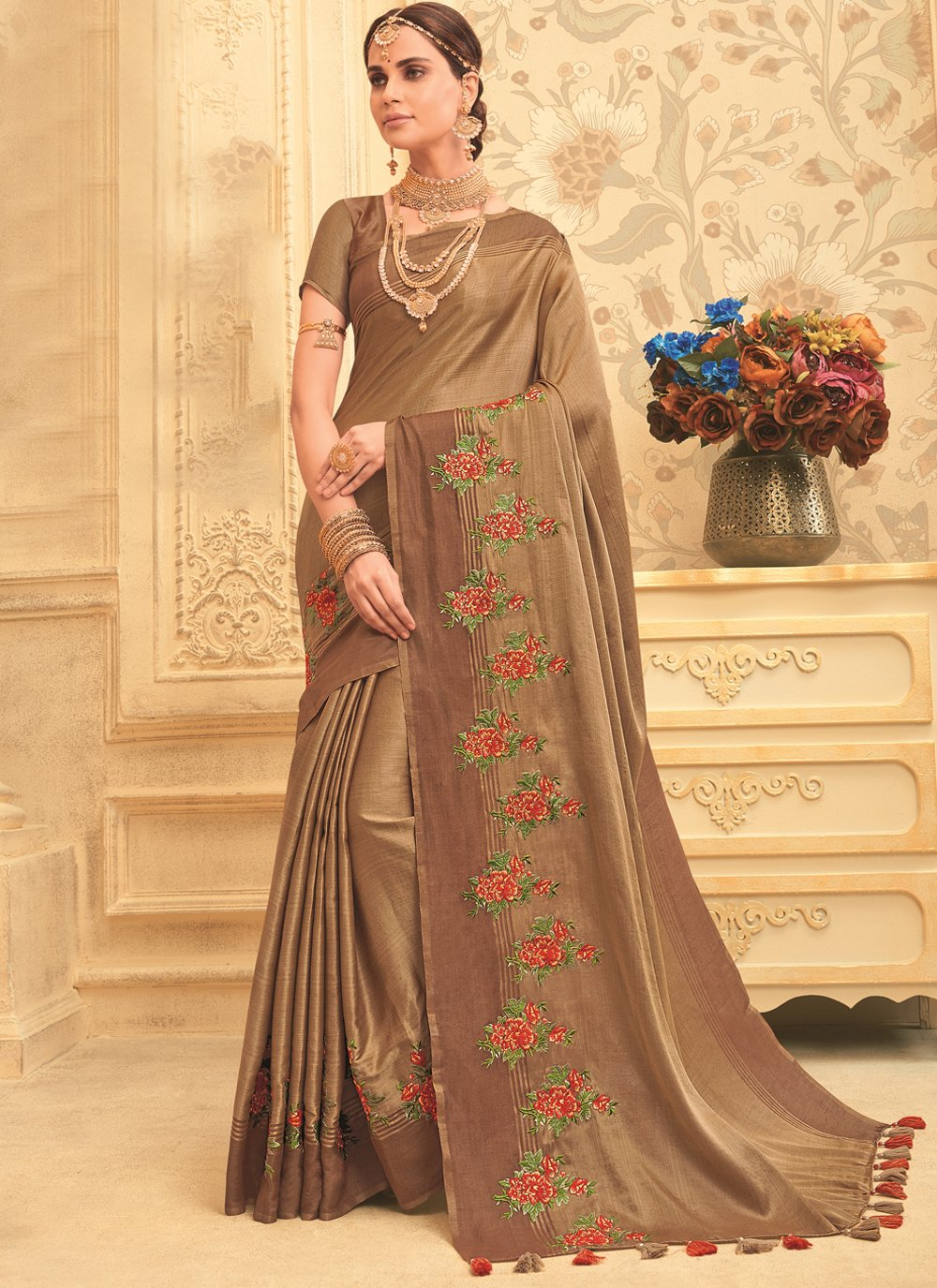 Brown Embroidered Art Silk Designer Traditional Saree