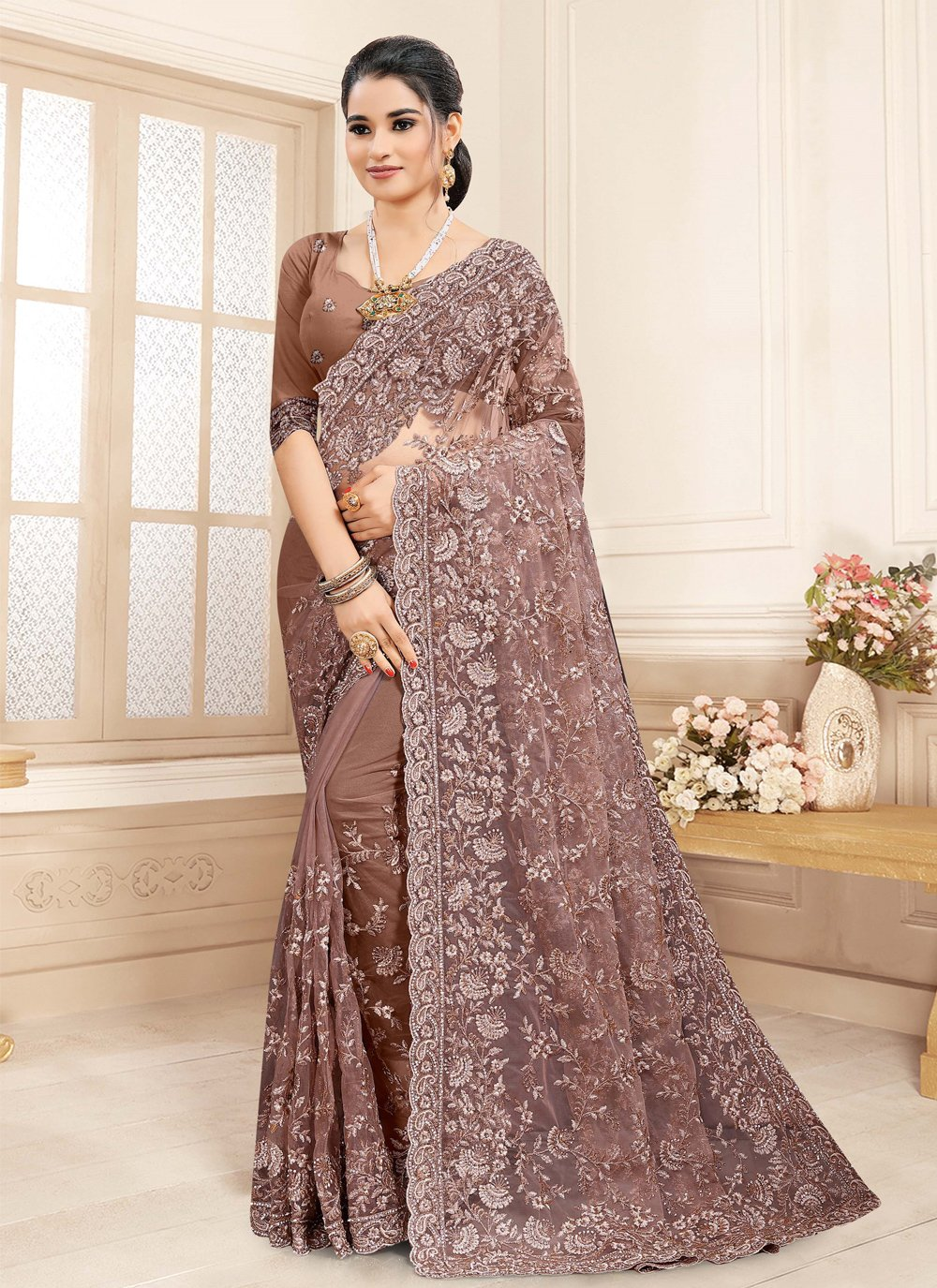 Brown Embroidered Ceremonial Classic Saree