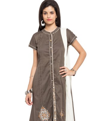 Brown Embroidered Cotton Pant Style Suit