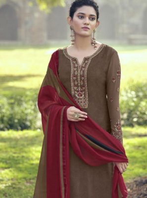 Brown Embroidered Faux Crepe Patiala Salwar Suit