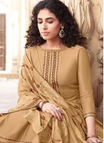 Brown Embroidered Festival Palazzo Designer Salwar Suit