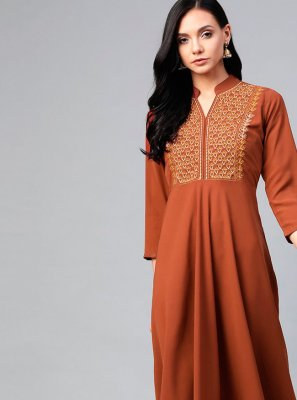 Brown Embroidered Festival Party Wear Kurti