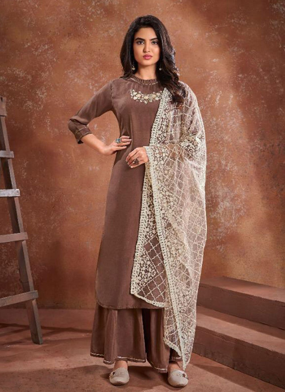 Brown Embroidered Festival Readymade Suit