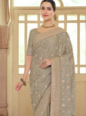 Brown Embroidered Georgette Satin Bollywood Saree